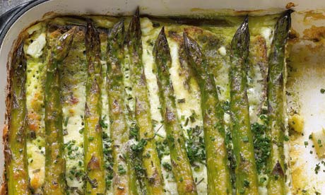 Yotam Ottolenghi's asparagus and chive bread pudding