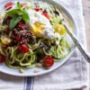 Courgette Pasta with Basil, Cherry Tomatoes and Poached Egg