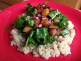 Baked Squash with Fresh Spinach and Quinoa