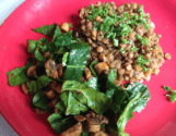 Curried Green Lentils with Mushroom & Spinach Salad