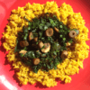 Turmeric Rice with Spinach, Mushroom & Wild Garlic Stir-Fry