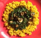Turmeric Rice with Spinach, Mushroom & Wild Garlic Stir-Fry