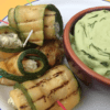 Courgette & Feta Skewers with Broad Bean Houmous