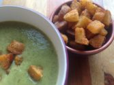 Broccoli & Spinach Soup with Pear Croutons