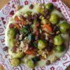 Brussels Sprout, Walnut & Raisin Stir-Fry with Parsnip Mash