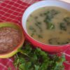Jerusalem Artichoke & Kale Soup with Apple & Walnut Dressing